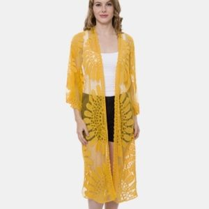 Other - YELLOW EMBROIDERY COVER UP LONG KIMONO CARDIGAN